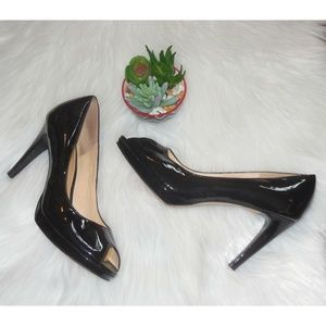 COLE HAAN Black Patent Peep Toe Platform Pumps 9